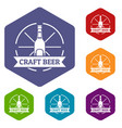 craft beer icons hexahedron vector image vector image