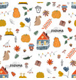 cute autumn seamless pattern fall harvest season vector image