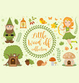 cute forest elf character set of objects vector image