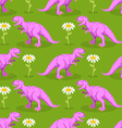 Dinosaur and flower seamless pattern Pink vector image vector image