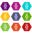 dna icons set 9 vector image vector image
