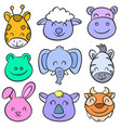 doodle animal funny colorful hand draw vector image vector image