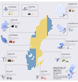 Dot And Flag Map Of Sweden Infographic Design vector image vector image
