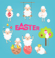 easter sheeps set vector image vector image