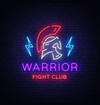 fight club neon sign warrior logo in neon style vector image vector image