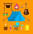 flat camping icons set vector image vector image