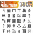 furniture glyph icon set interior symbols vector image vector image