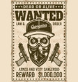 gangster skull with bandana on face wanted poster vector image vector image
