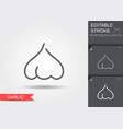 garlic line icon with editable stroke with shadow vector image vector image