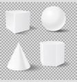 geometric shapes white 3d mockup templates vector image