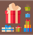 gift boxes pack composition event greeting object vector image vector image