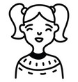 girl with pigtails on a white background vector image vector image