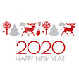 happy new 2020 year christmas design with reindeer vector image