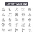 harvesting line icons signs set outline vector image vector image