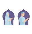islamic prayer man and woman in ramadan festival vector image vector image