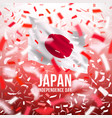 japanese independence day background with confetti vector image