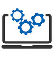 laptop and gears icon vector image
