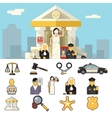 Law Icons Set Justice Symbol Concept on City vector image vector image
