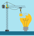 light bulb idea building with a crane placing vector image vector image