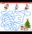 lines maze game with santa characters vector image vector image