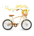 modern bicycle with cart full of flowers and vector image vector image