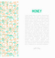 money concept with thin line icons vector image