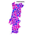 mosaic portugal map of square elements vector image vector image