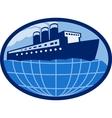 Ocean passenger liner boat ship globe vector image vector image
