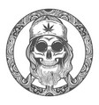 old hippie skull on symbol peace vector image vector image