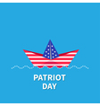 Paper boat blue patriot day Flat vector image