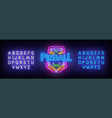 pinball neon sign bright signboard light banner vector image vector image