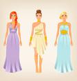 pretty females in greek styled goddess dresses vector image vector image