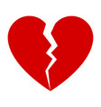 red broken heart vector image vector image