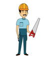 repairman builder with handsaw avatar character vector image