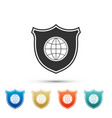 shield with world globe icon isolated on white vector image vector image