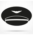 Silhouette symbol of Pilot Aviator Peaked cap vector image