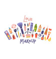 sketch cosmetics products fashion banner vector image