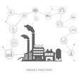 smart factory and around it icons smart factory vector image