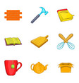 snugly icons set cartoon style vector image vector image