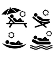 Summer relax sunbathing pictograms flat people vector image vector image
