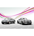 two gray car cabriolets on the road vector image