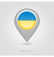 Ukraine flag pin map icon vector image