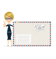 woman with envelope letter vector image vector image