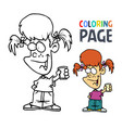 young girl with glass cartoon coloring page vector image vector image