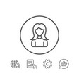user line icon female profile sign vector image