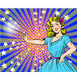 woman with magic wand pop vector image