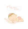 baby shower card with pretty girl sleeping vector image