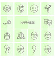 14 happiness icons vector image vector image