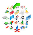 apprehension icons set isometric style vector image