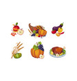 autumn symbols collection of thanksgiving day vector image vector image